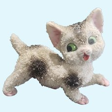 Vintage Porcelain Bisque Flocked Cat Doll Companion