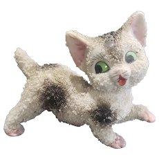 Vintage Porcelain Bisque Flocked Cat Doll Companion