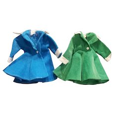 """Pair of 1950's Ideal 12"""" Shirley Temple Doll Coats"""