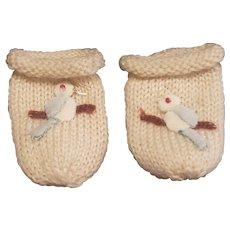 Vintage Knit Birdie Gloves for Doll