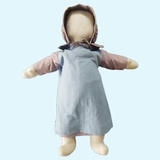 "Adorable Vintage Artist Folk Art 19 1/2"" Cloth Amish Doll"