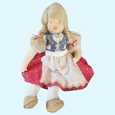 Vintage 1984 WEIHNACHTS Puppen Gabrielle West Painted Felt Doll