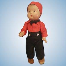 Vintage Effanbee Baby Tinyette Doll Dressed as Dutch Boy