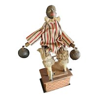 Antique Paper Mache Automaton Mechanical Doll Lifting Weights