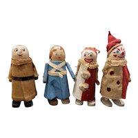 """Lot of 4 Vintage Wood Wilson Ramp WALKIE Walker Dolls 4 1/4"""""""