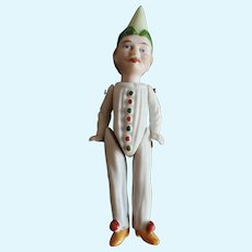 Vintage All Bisque Germany Clown Doll 4 1/4""
