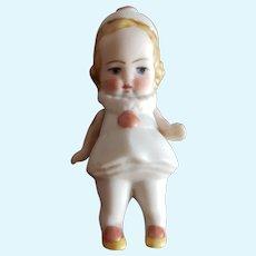 "Vintage All Bisque Little Girl Clown Doll 3"""