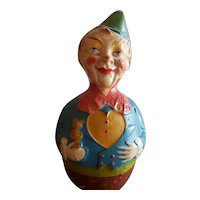 Vintage Early 1900's Paper Mache Musical Clown Roly Poly Doll