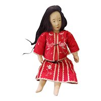 """Unusual 18"""" Painted Cloth & Paper Mache Oriental Doll with Real Hair"""