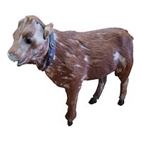 Interesting Vintage Paper Mache Fur Covered Cow Doll Companion