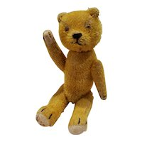 "Adorable Vintage 10"" Bristle Mohair Teddy Bear with Glass Eyes"
