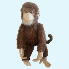 """Vintage 12"""" Mohair Monkey With Glass Eyes. Cute!"""