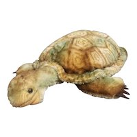 """1950's Steiff 15"""" Mohair Turtle with Button and Flag"""
