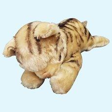 "Vintage Mohair Steiff 12"" Sleeping Cat with Bells in Feet"