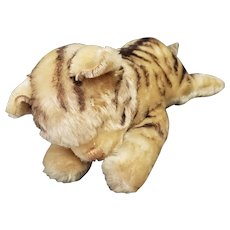 "Vintage Mohair Steiff 12"" Sleeping Cat with Bells in Feet"
