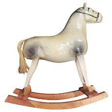 Vintage Paper Mache Horse for Doll Display
