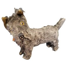 Adorable Vintage Mohair Scottie Terrier Dog with Glass Eyes
