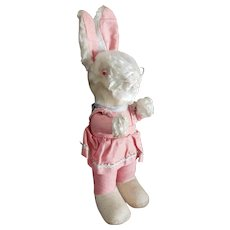 Adorable Vintage DRessed Bunny Rabbit Doll with Glass Eyes