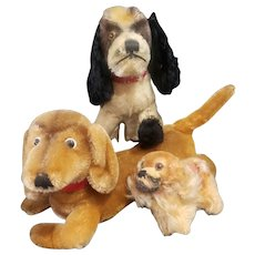 Vintage 1950's Steiff Mohair Dog Lot