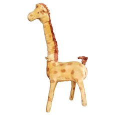 Vintage Silk Plush Japan Wind up Giraffe Toy