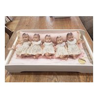 1930's Madame Alexander Dionne Quintuplet Set in Crib with Tag