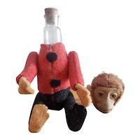 "Vintage Schuco 4 3/4"" Bellhop Monkey Perfume Bottle DOll"