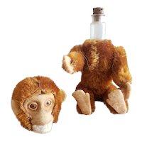 "Minty Vintage Schuco Orange Mohair Perfume Bottle Monkey Doll 5"""