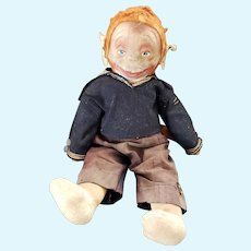 "Vintage 18"" Unusual Sailor Monkey Doll"