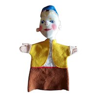 Vintage Felt Puppet with Glass Eyes