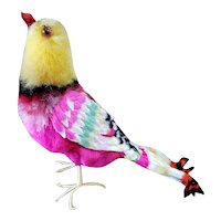 """Beautiful Vintage 6"""" Chenille Pheasant Bird for Doll Display"""