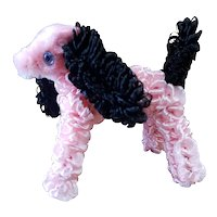 Cute Vintage Chenille Pink Puppy Dog for Doll Display