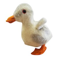 """1937 Steiff Wool Duck Duckling with Glass Eyes 5 1/2"""""""