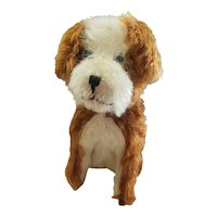"""Adorable Two Tone mohair Dog with Glass Eyes 8"""""""