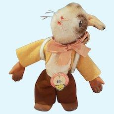 "Vintage Steiff BIB Dressed Rabbit with Basket 4 1/2"""