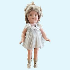 """1930's Ideal 18"""" Shirley Temple Doll Original Dress & Shoes"""