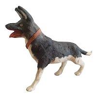 Vintage Paper Mache Cotton Flocked German Shepherd Dog Doll Companion