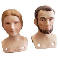 Vintage Yield House Bisque Abraham & Mary Todd Lincoln Busts