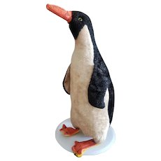 Interesting Vintage Excelsior Stuffed Penguin with Glass Eyes