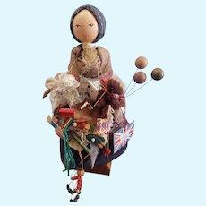 """Adorable Vintage Granny Toy Peddler Wooden Doll 10 1/2"""""""