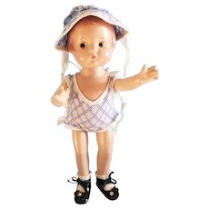 "Adorable 9 1/2"" Effanbee Patsyette Doll in Orignal Sunsuit"