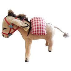 Vintage Steiff Velvet Donkey with Saddlebag Button & Flag