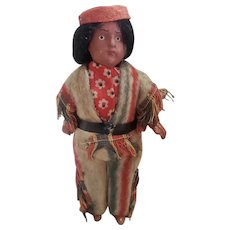 "Vintage 5 3/4"" Bisque Head Native American Indian Doll"