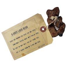 "Adorable Vintage 2 1/4"" Miniature Good Luck Teddy Bear with Postcard"