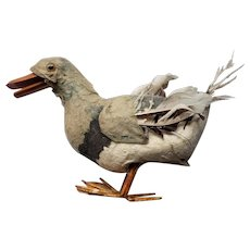 Early 1900's Unusual Paper Mache Walking Duck with Glass Eyes