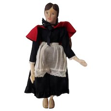 "1950's Helen Bullard 10"" Carved Wood Holly Peddler Hitty Doll"