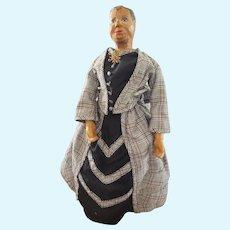 "Vintage Artist Carved Wood Character Doll 12"""