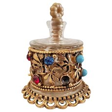 Miniature Italy Florenza Jeweled Perfume Bottle with Stopper for Doll Display