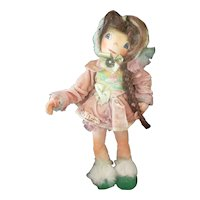 """1950's Adorable  14"""" Polly Flinders Cloth Character Doll with Human Hair"""