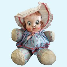 """Neat 16"""" Roaming Eye Disc Eye Googly Cloth Doll with Oilcloth Face"""