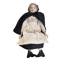 "Interesting Artist Carved Wood Old Woman Peddler Doll 14"""